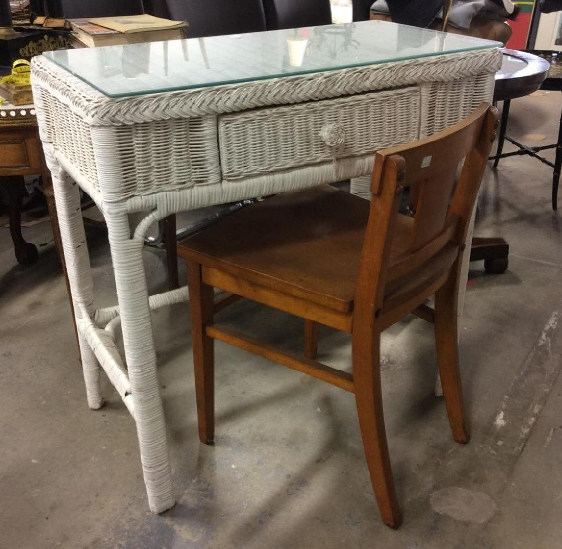 Vintage Wood and Wicker Desk w Wood Chair