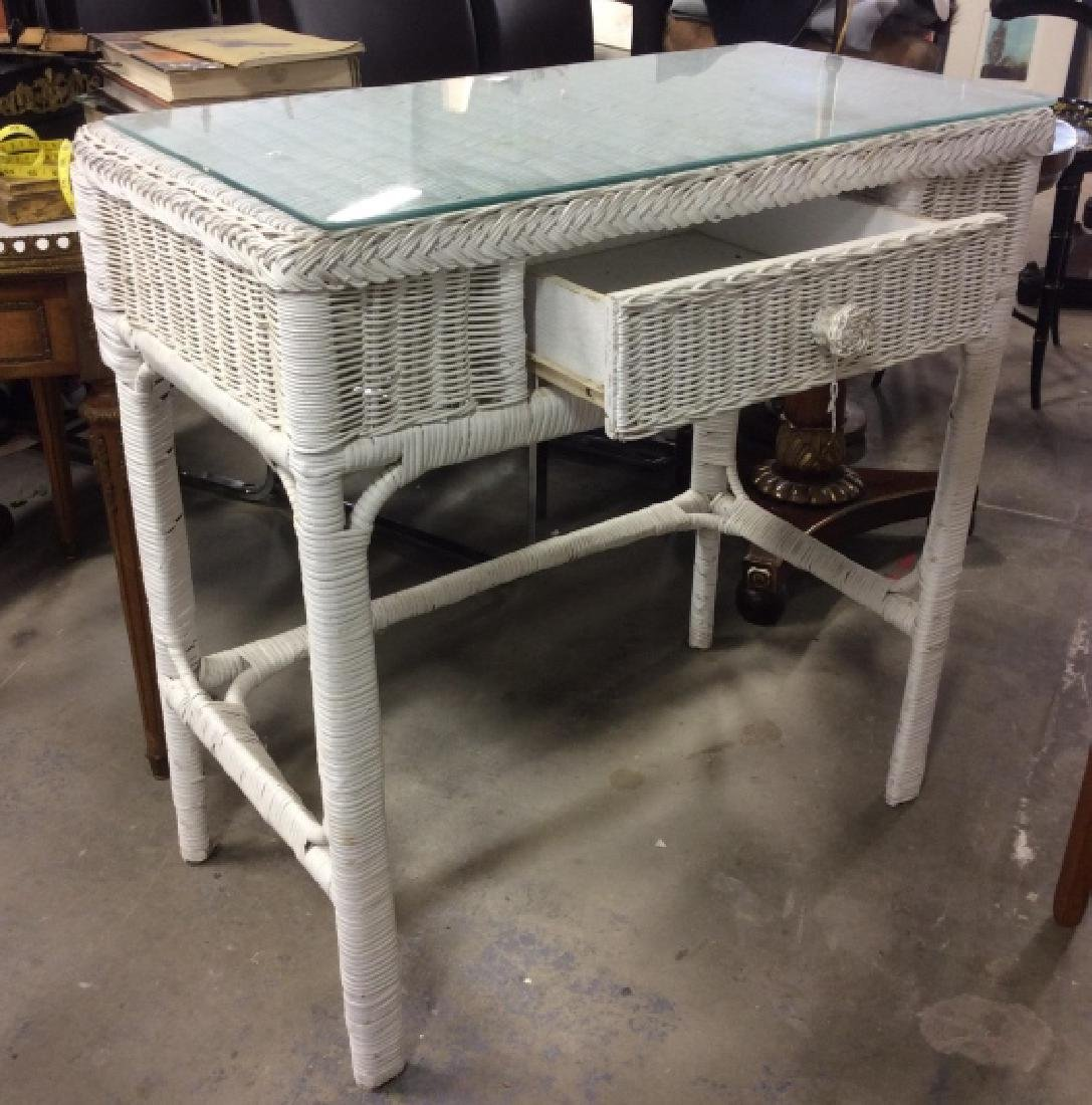 Vintage Wood and Wicker Desk w Wood Chair - 2