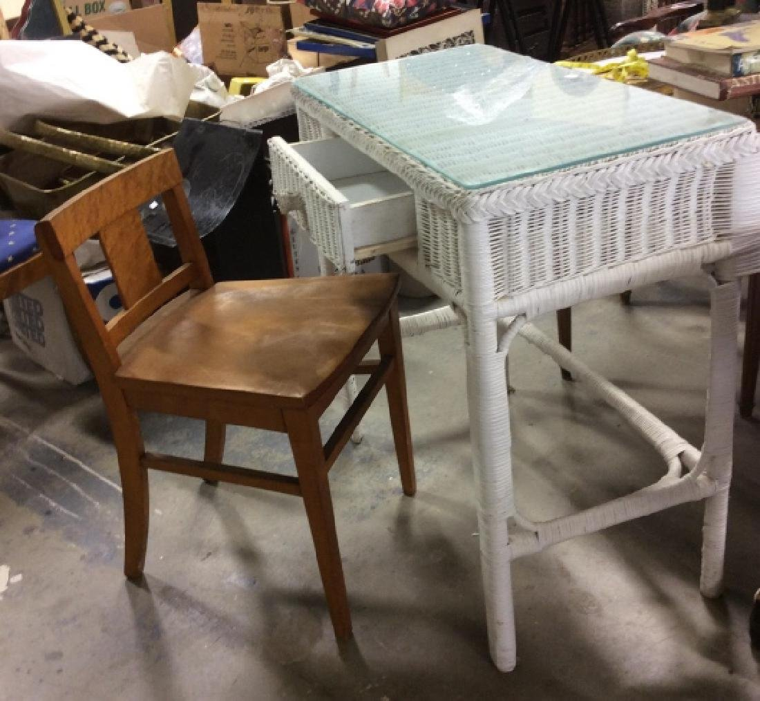 Vintage Wood and Wicker Desk w Wood Chair - 3