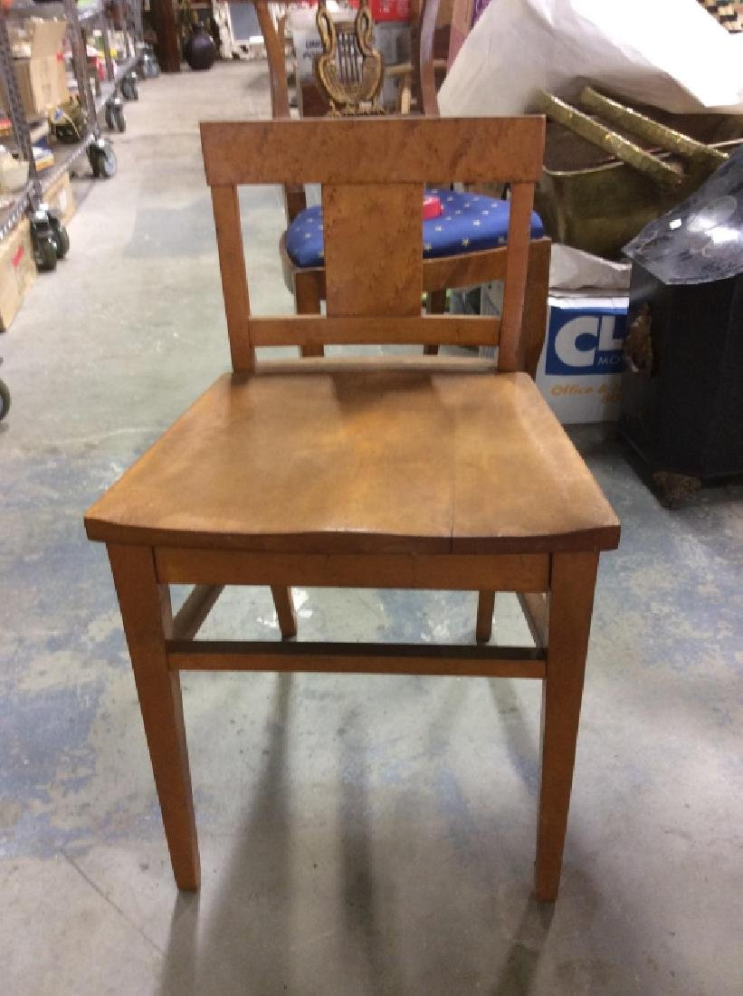 Vintage Wood and Wicker Desk w Wood Chair - 5