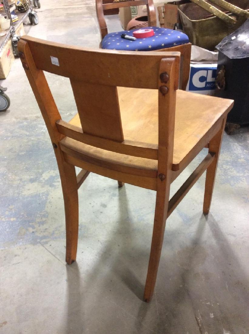 Vintage Wood and Wicker Desk w Wood Chair - 6