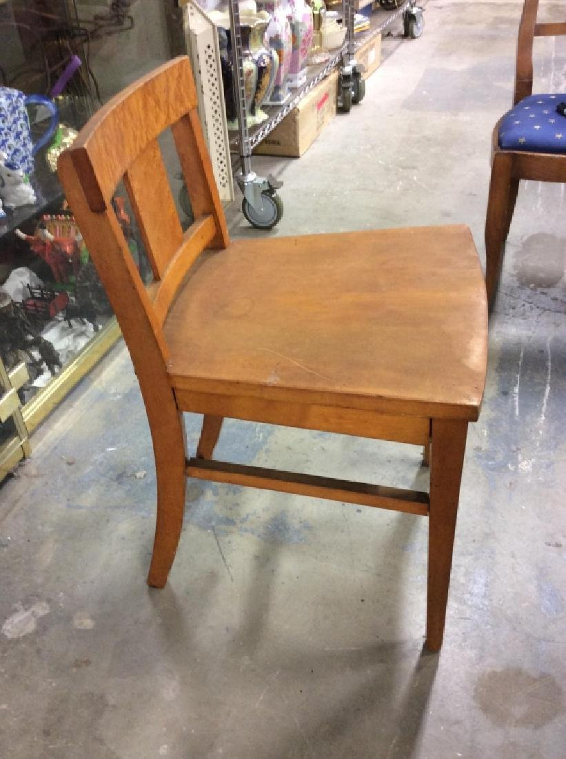 Vintage Wood and Wicker Desk w Wood Chair - 7