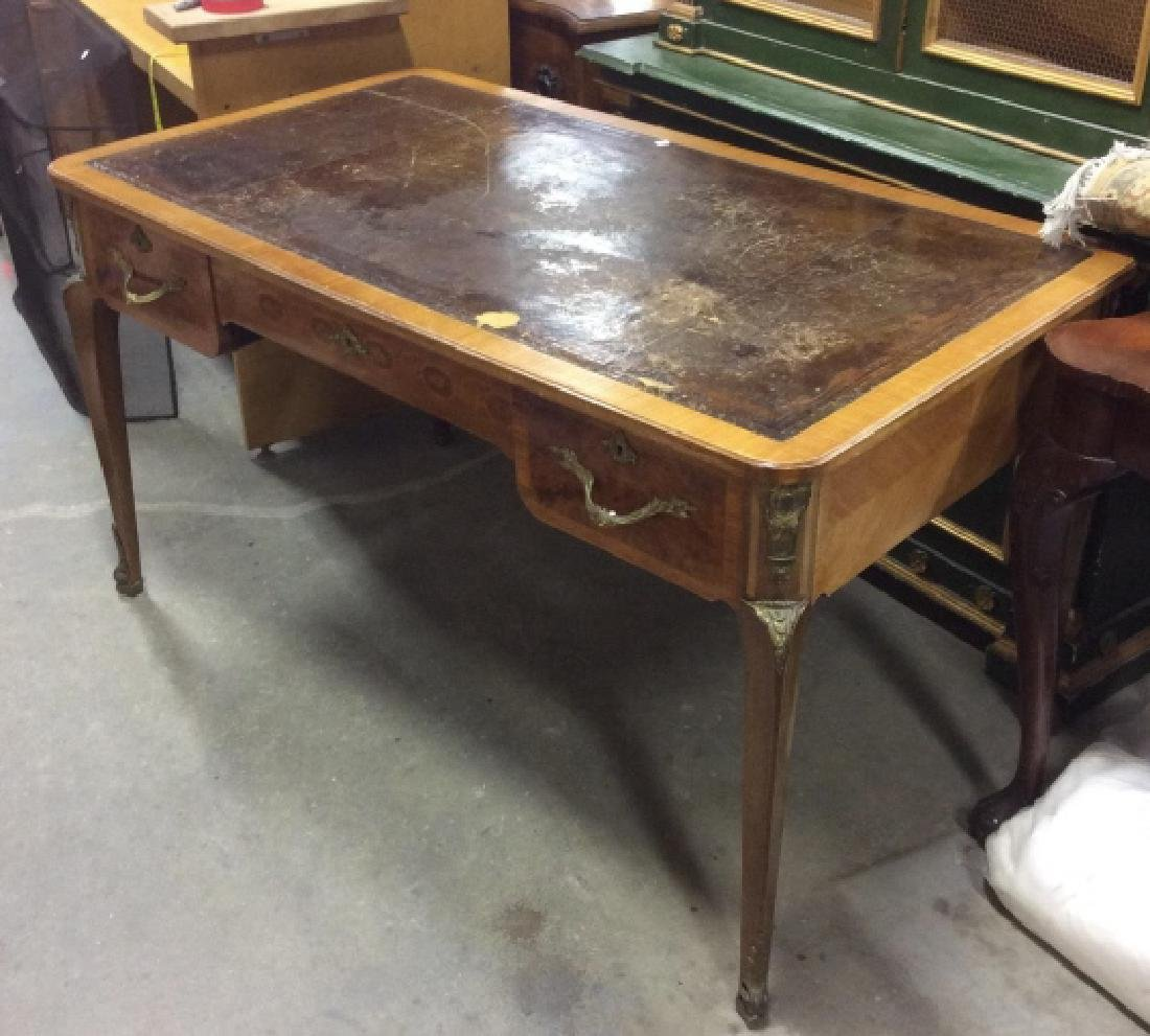 Antique Lether Topped Marquetry Desk