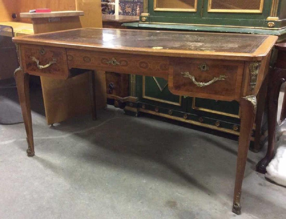 Antique Lether Topped Marquetry Desk - 4