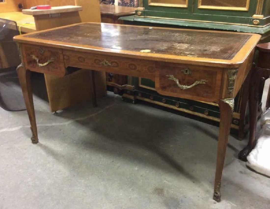 Antique Lether Topped Marquetry Desk - 5