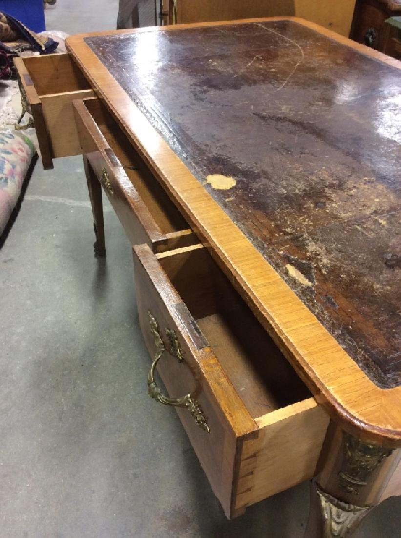 Antique Lether Topped Marquetry Desk - 8
