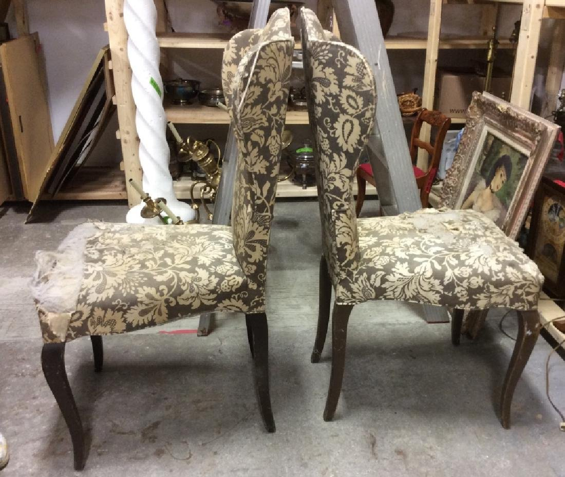 Pair Antique Semi-Wing Back Chair - 3