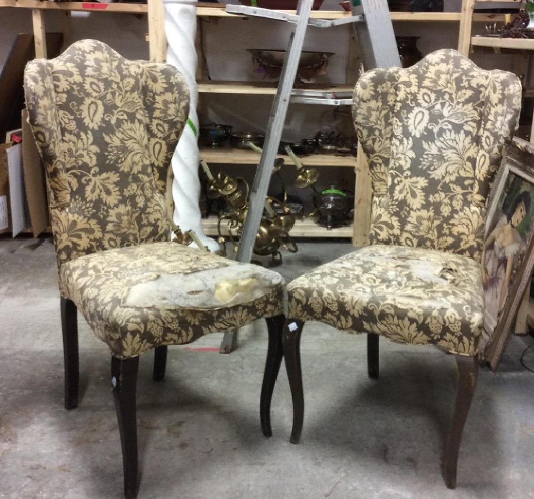 Pair Antique Semi-Wing Back Chair - 8