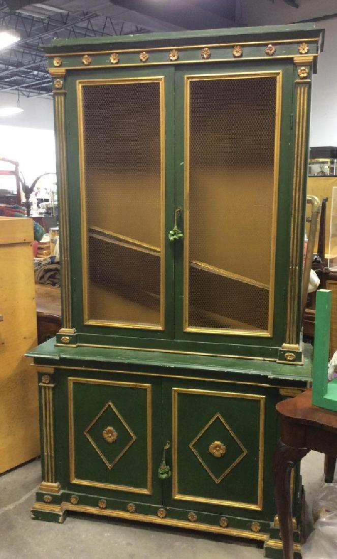 Antique Green Gold Painted Wood Cupboard - 10