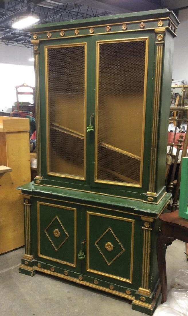 Antique Green Gold Painted Wood Cupboard