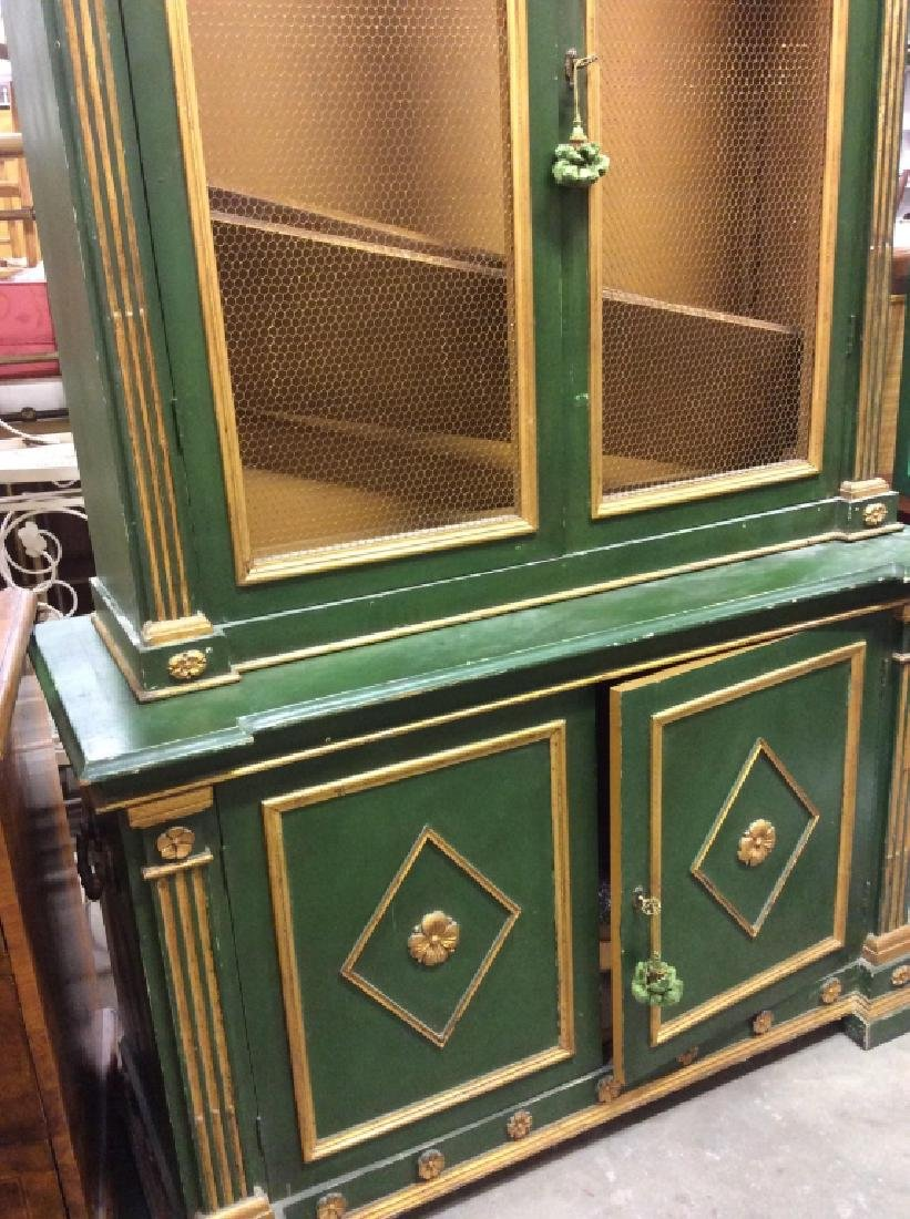 Antique Green Gold Painted Wood Cupboard - 2