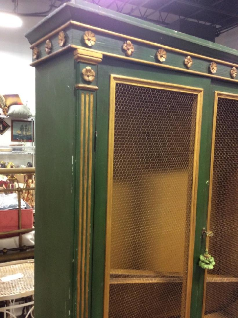 Antique Green Gold Painted Wood Cupboard - 3