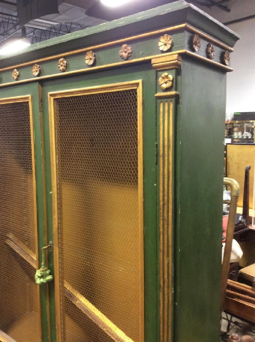 Antique Green Gold Painted Wood Cupboard - 4