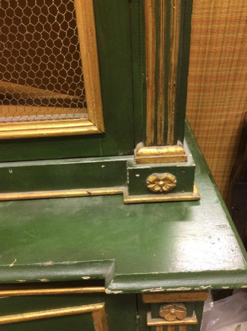Antique Green Gold Painted Wood Cupboard - 5