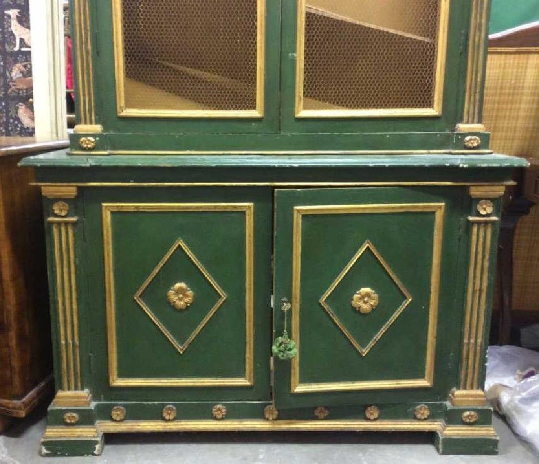 Antique Green Gold Painted Wood Cupboard - 6