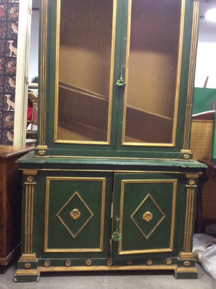 Antique Green Gold Painted Wood Cupboard - 7
