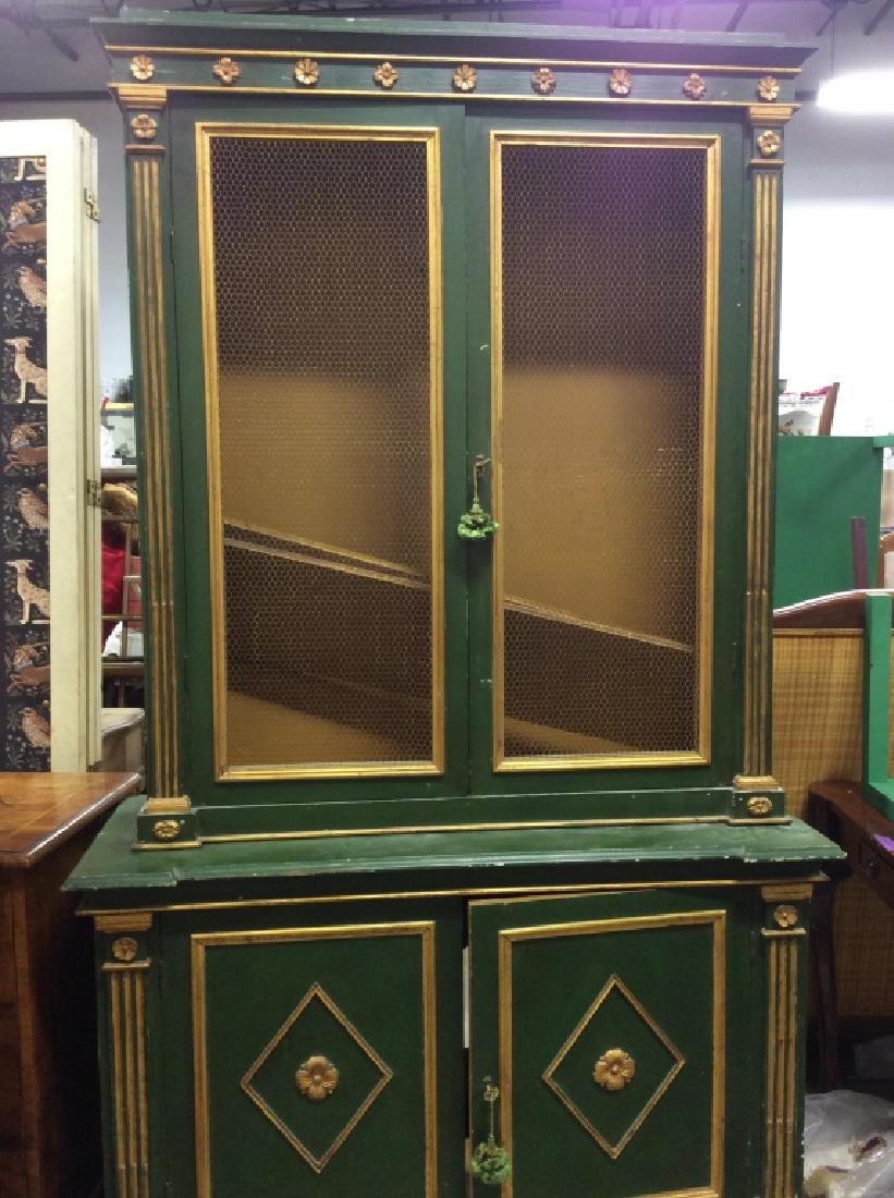 Antique Green Gold Painted Wood Cupboard - 8