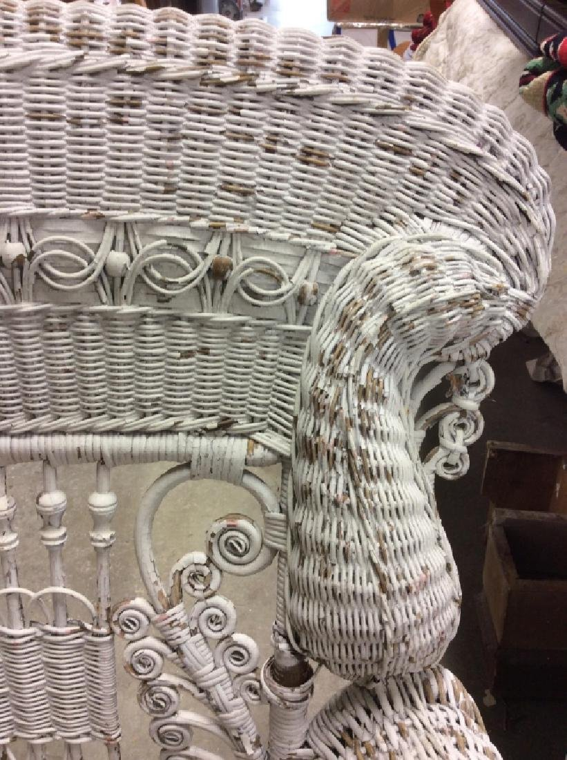 Antique Victorian Wicker Arm Chair - 3