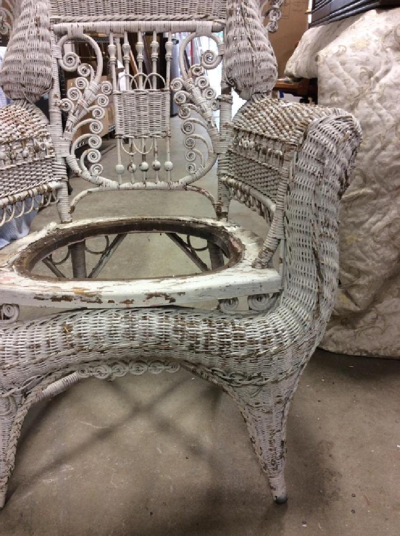 Antique Victorian Wicker Arm Chair - 4