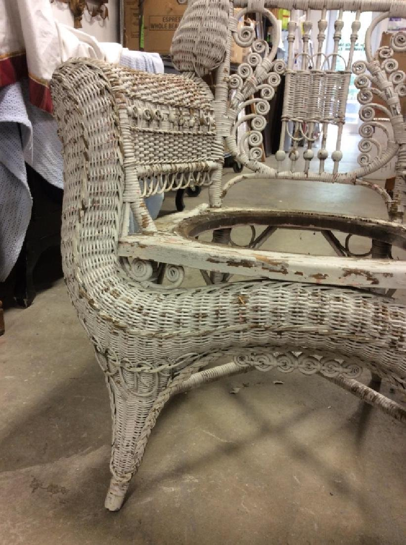 Antique Victorian Wicker Arm Chair - 5