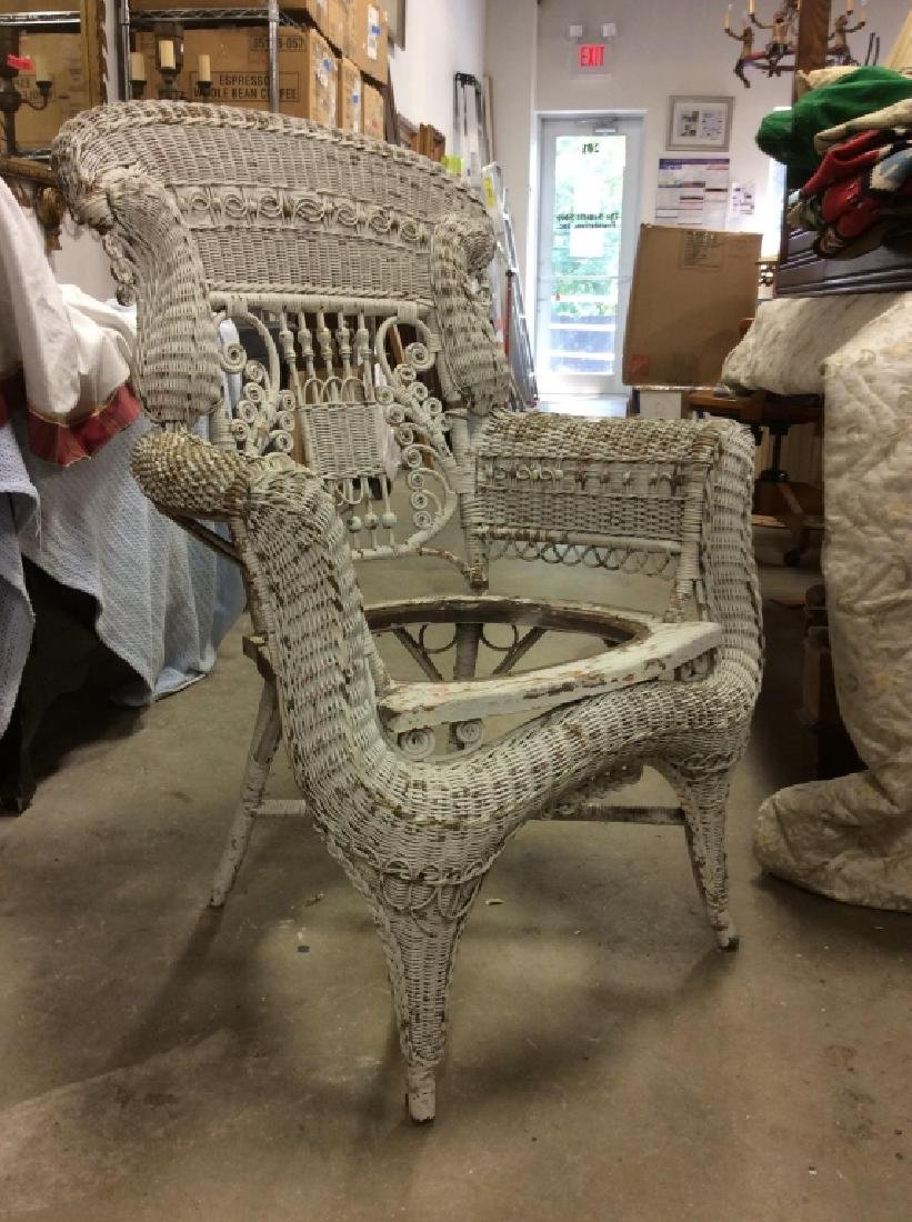 Antique Victorian Wicker Arm Chair - 7