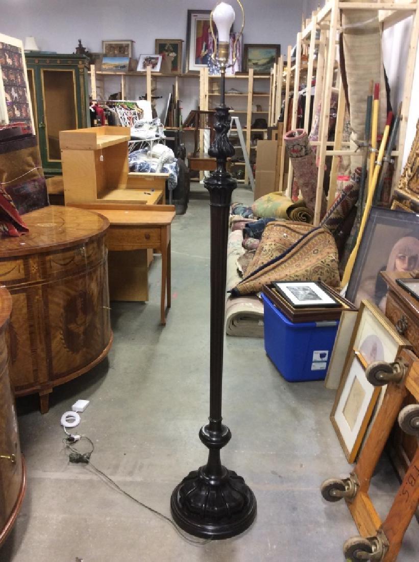 Carved Black Toned Wood Floor Lamp - 2