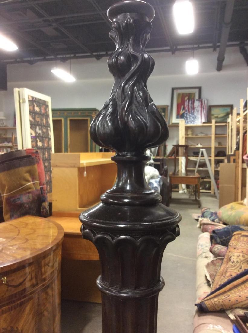Carved Black Toned Wood Floor Lamp - 7