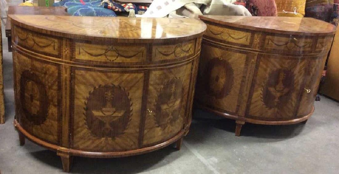 Pair Richly Detailed Demi lune Commodes - 2