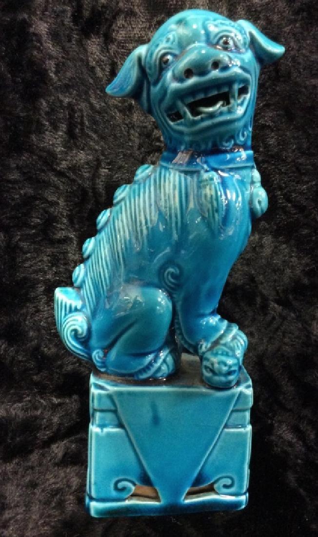 Blue toned Vintage/Antique Ceramic Foo Dog