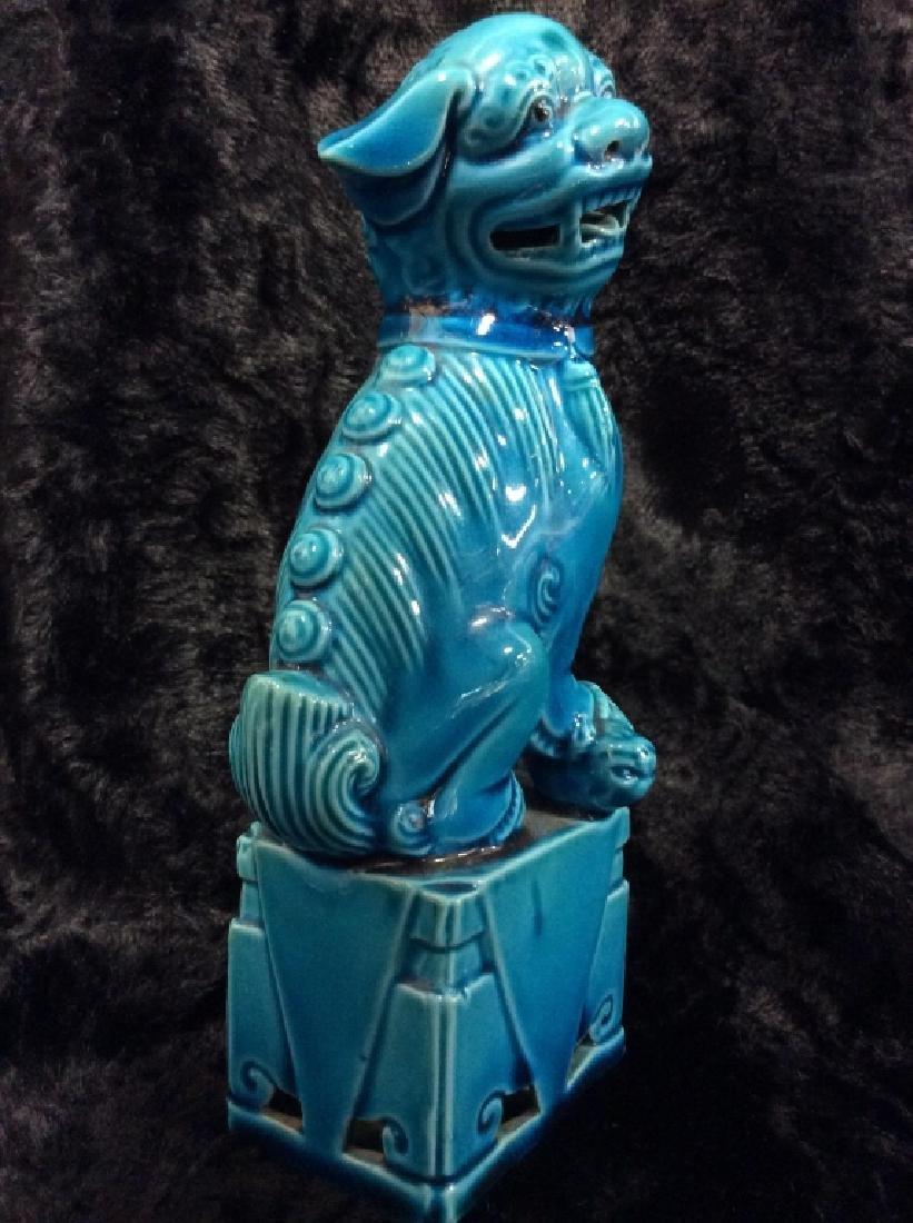 Blue toned Vintage/Antique Ceramic Foo Dog - 2