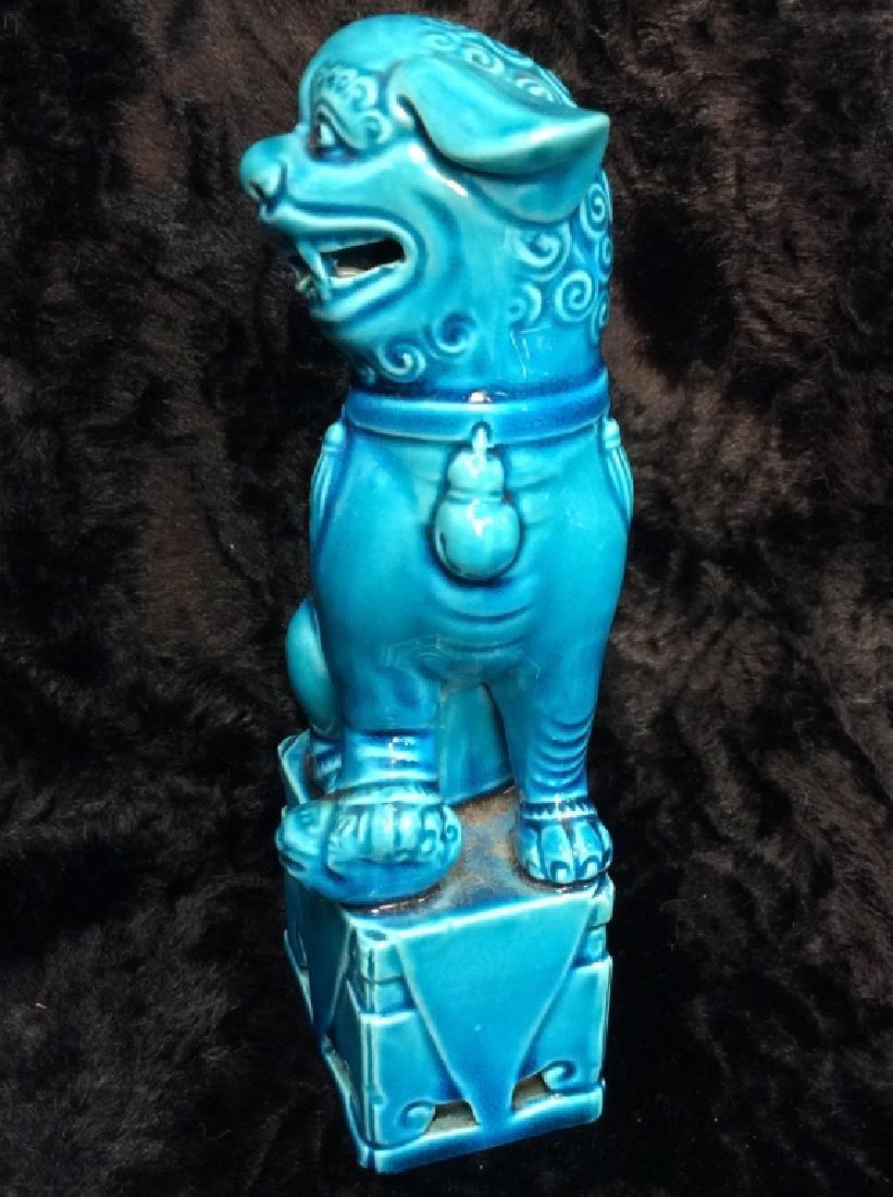 Blue toned Vintage/Antique Ceramic Foo Dog - 3
