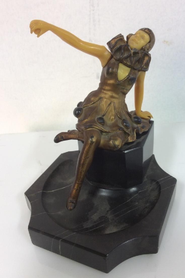 Metal Bronze Bakelite Marble Art Deco Figural - 2