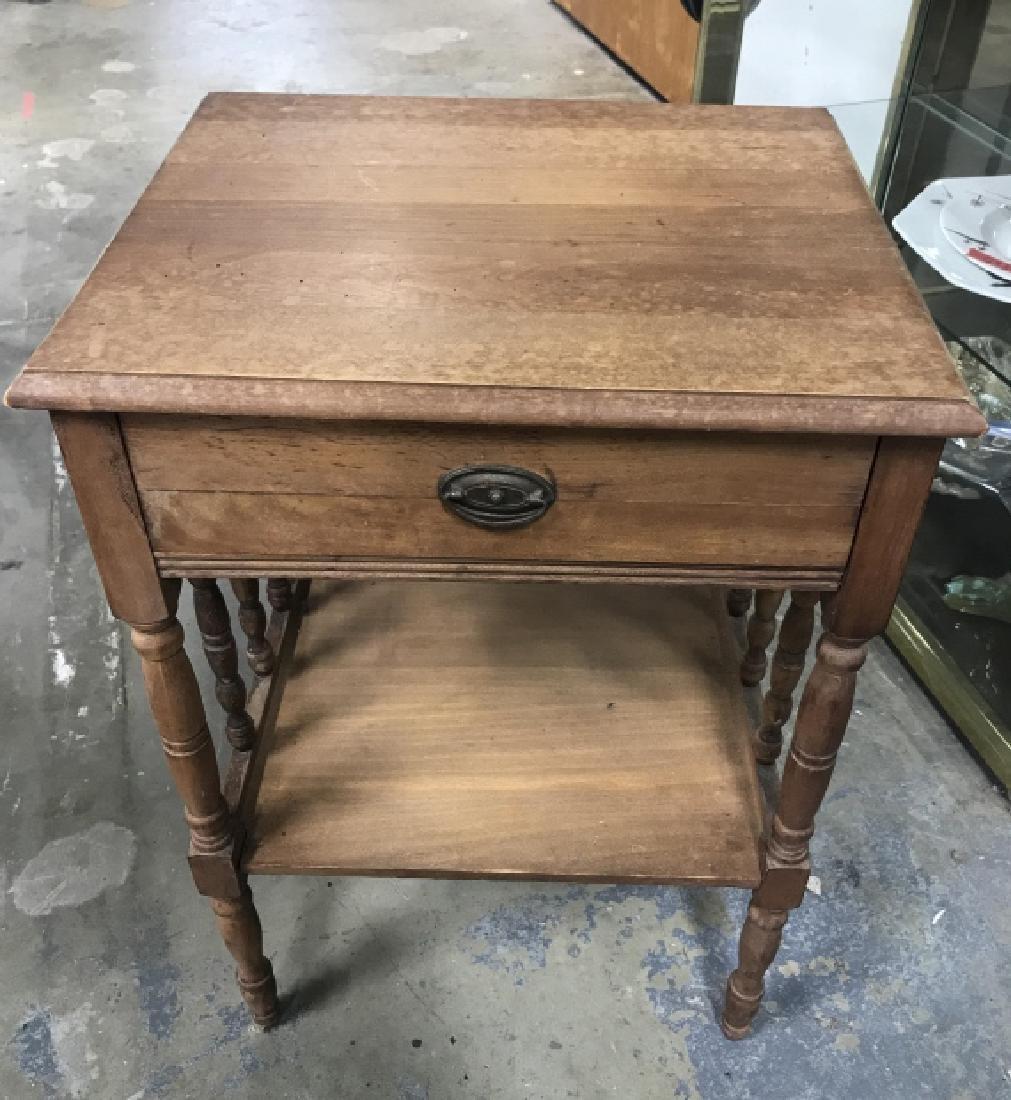 Vintage Carved Wooden Nightstand - 4