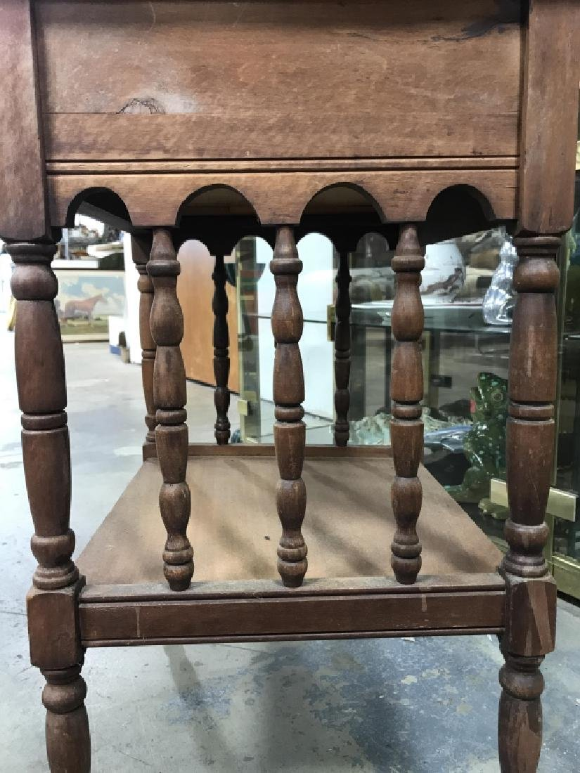 Vintage Carved Wooden Nightstand - 8