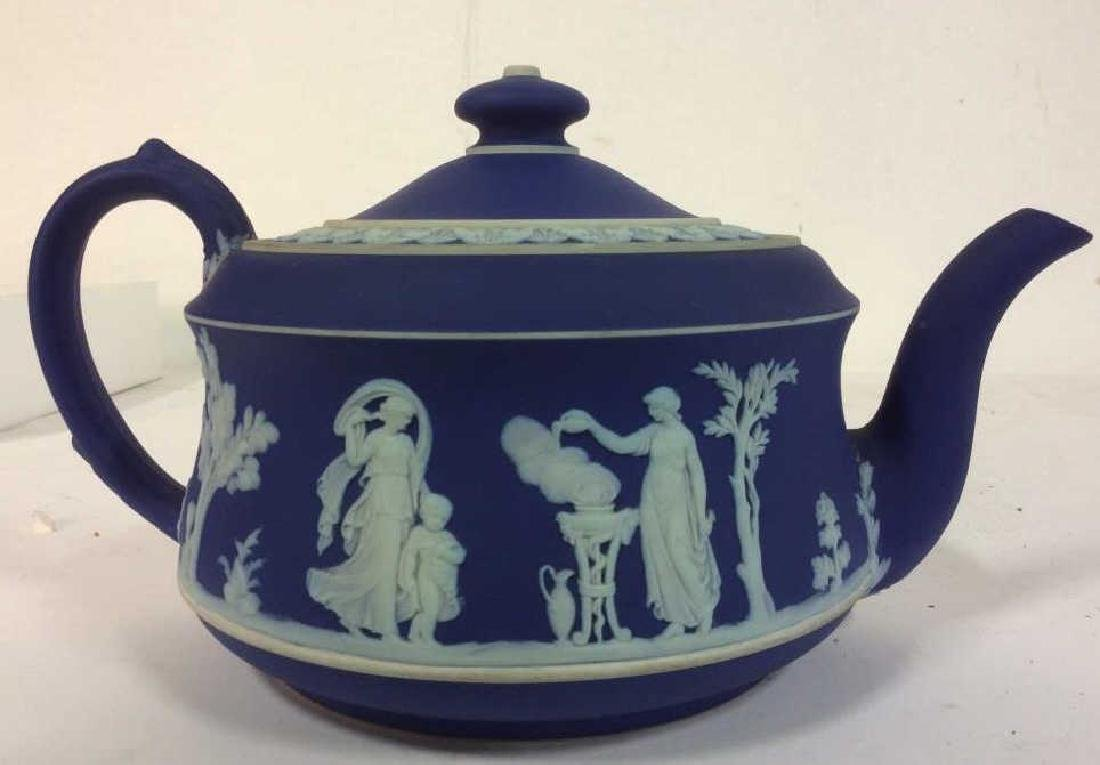 WEDGEWOOD Indigo Tone Tea Pot w Lid - 2