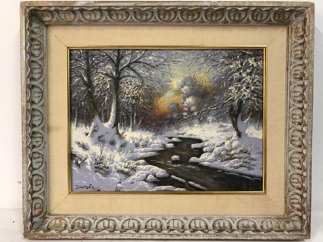 Signed DANDEE Winter Painting On Board