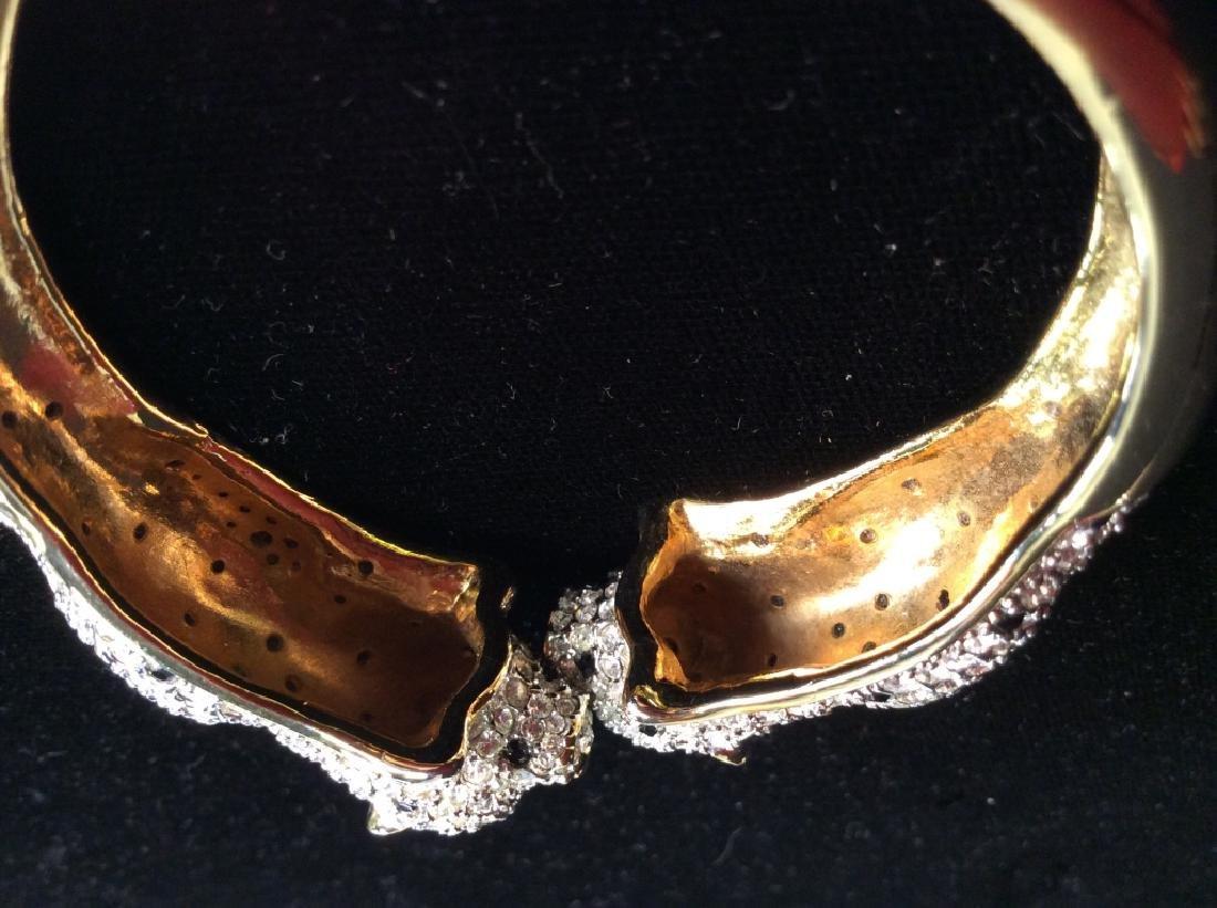 Vintage Rhinestone Studded Leopard Cuff Bracelet - 4