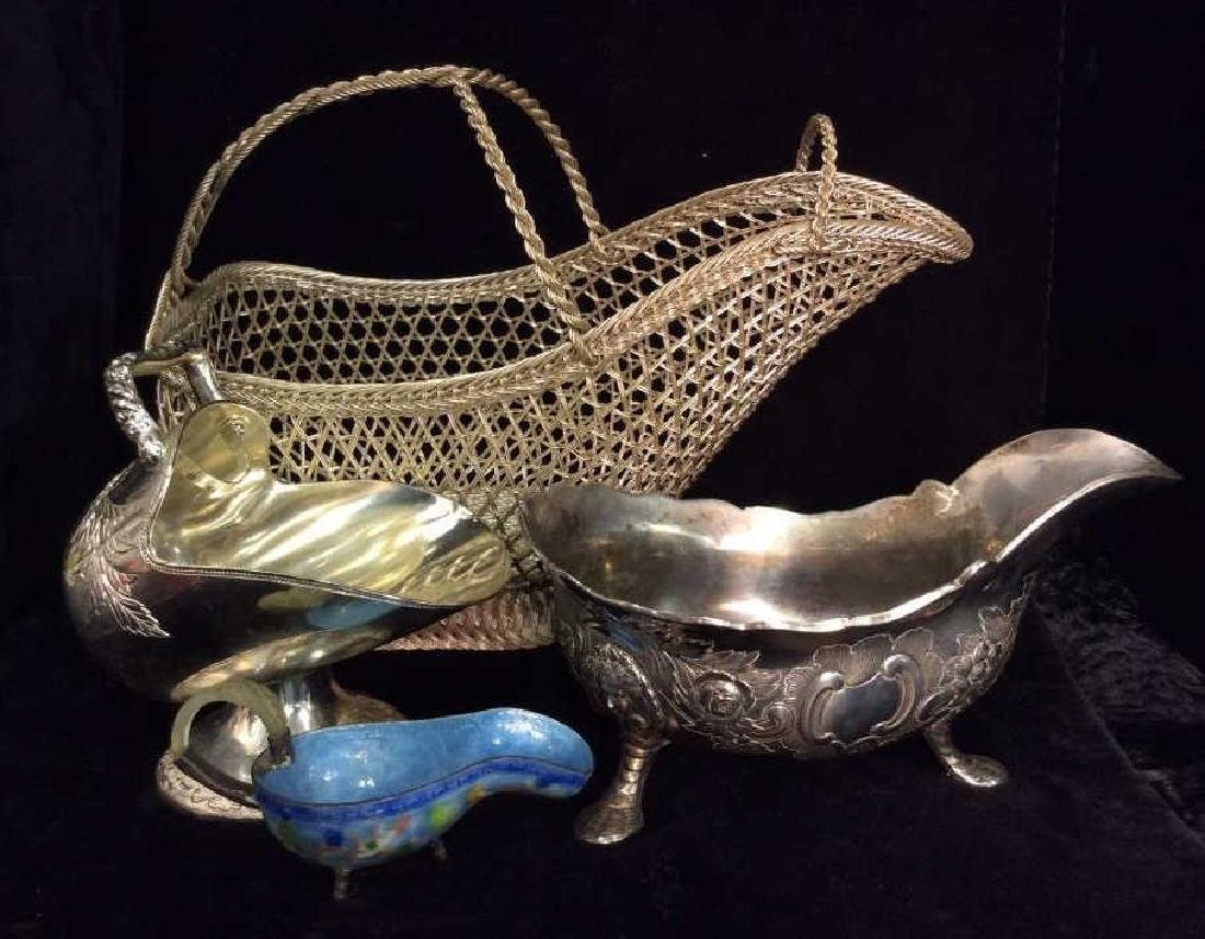 Group Lot Silver Toned Metal Tabletop Accessories