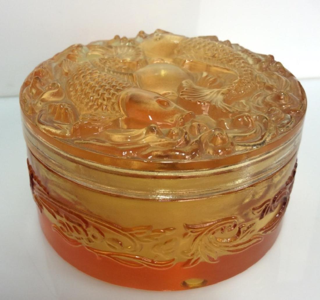 Orange Toned Art Glass Trinket Dish