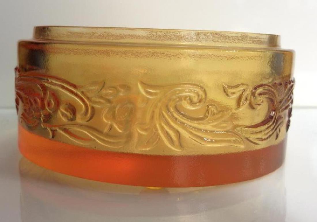Orange Toned Art Glass Trinket Dish - 5