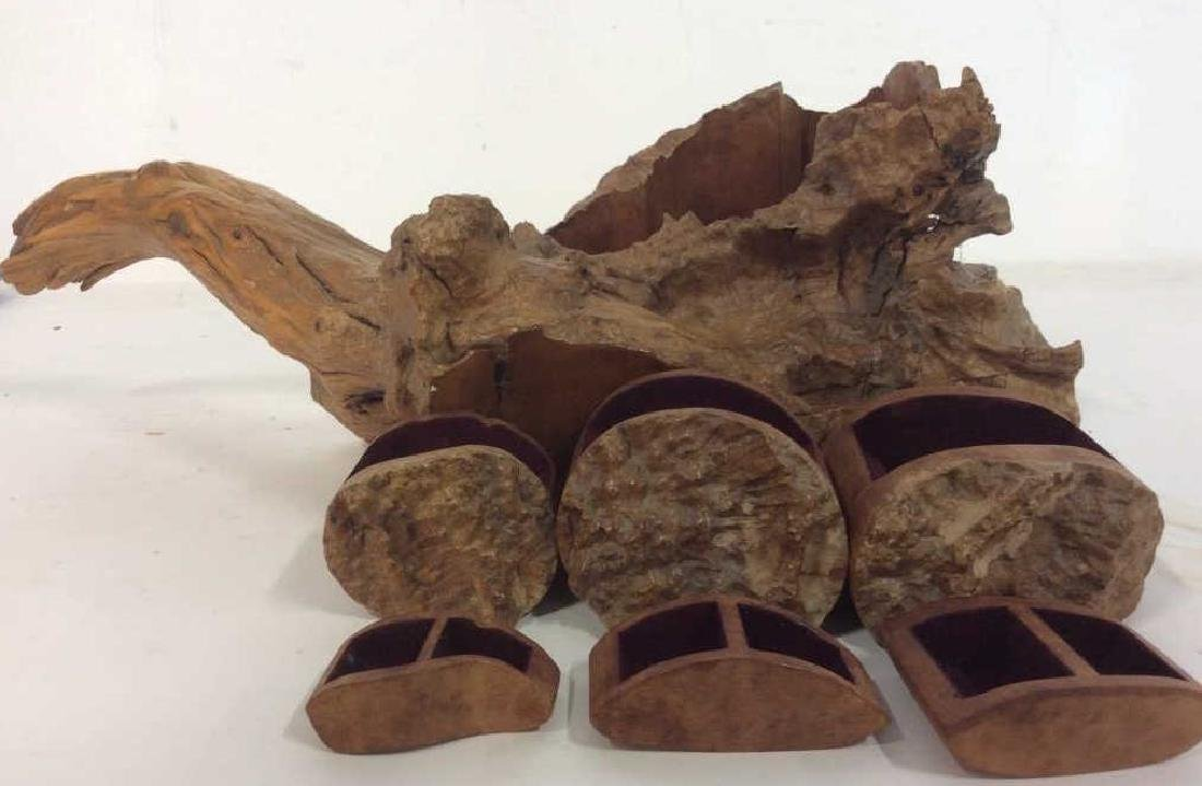 Organic Form Carved Wood Puzzle Box