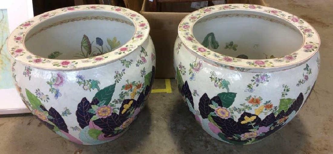 Signed Pair Large Asian Planters