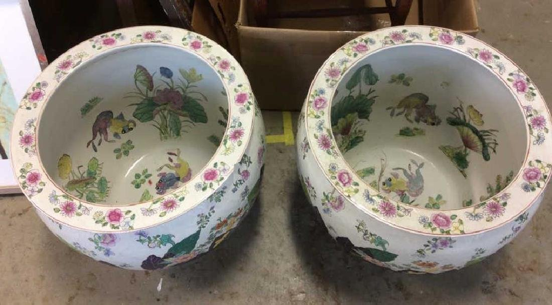 Signed Pair Large Asian Planters - 2