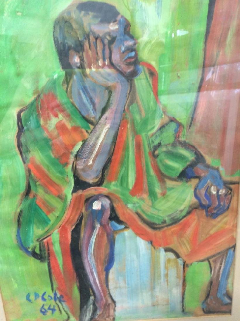 C D Cole Abstract Seated Figure Painting, 1964