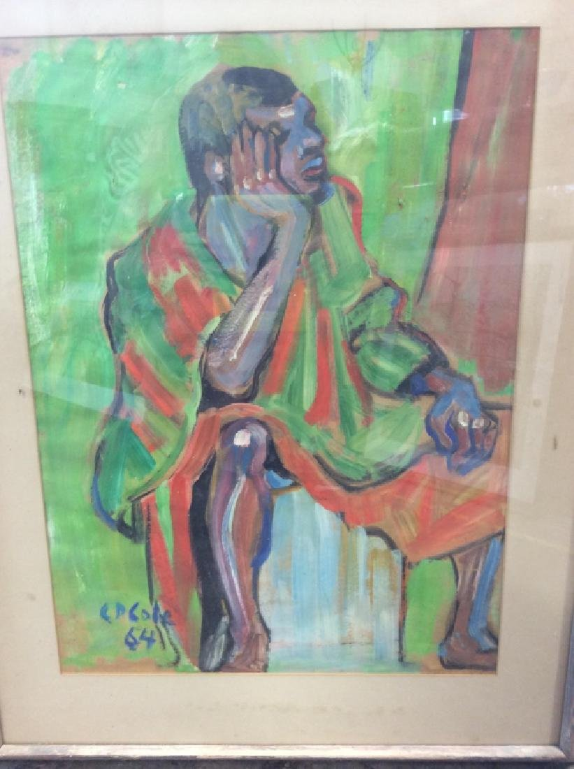C D Cole Abstract Seated Figure Painting, 1964 - 4