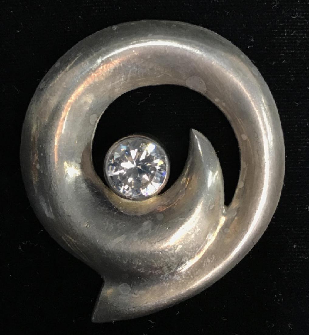 Vintage Sterling Silver W Rhinestone Brooch Pin
