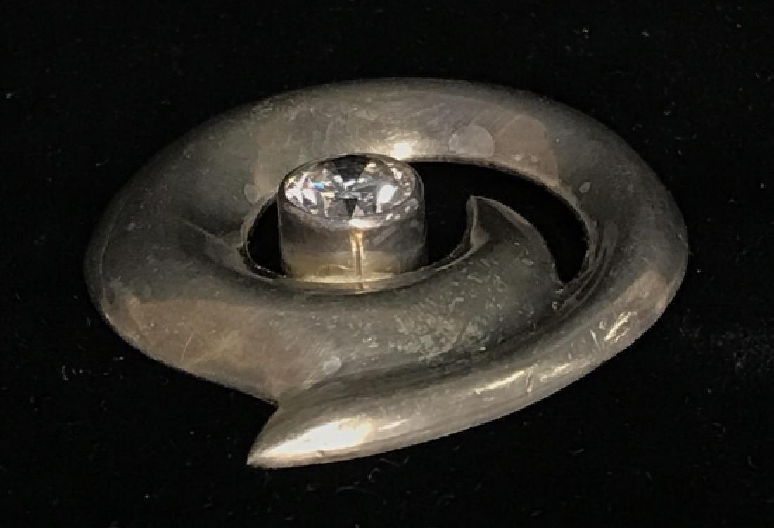 Vintage Sterling Silver W Rhinestone Brooch Pin - 3