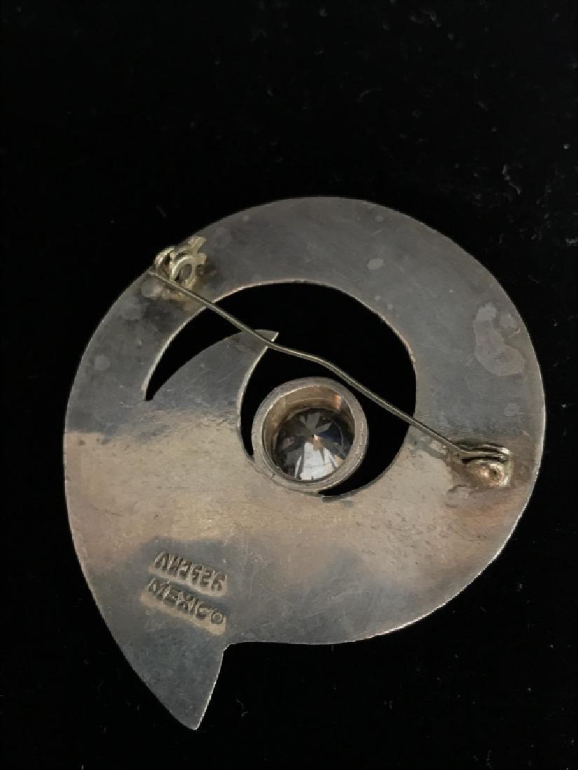 Vintage Sterling Silver W Rhinestone Brooch Pin - 5