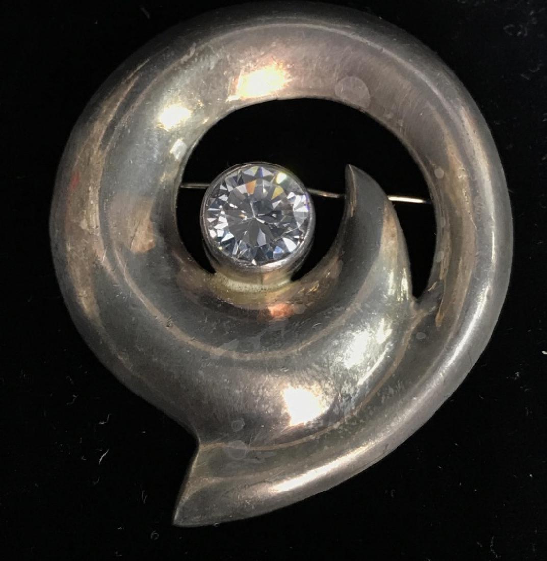 Vintage Sterling Silver W Rhinestone Brooch Pin - 6