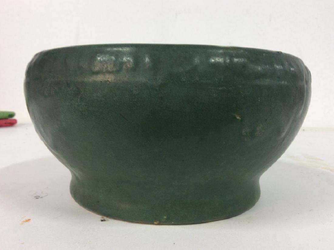 Hand Made Green Vintage Pottery Vessel - 2